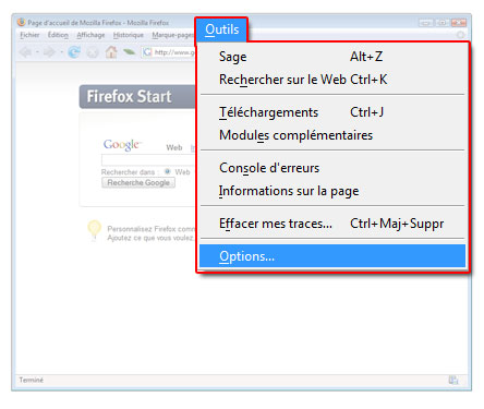 menu outils options de firefox