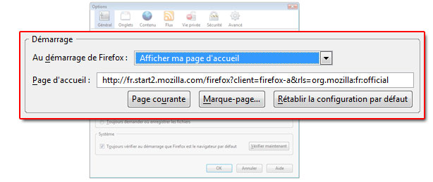 les options de firefox